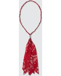 Palm Angels Bandana-print Cotton Necklace - Red