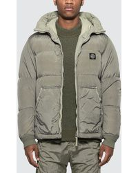 Stone Island Logo-patched Down Jacket - Gray