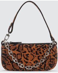 BY FAR Mini Rachel Leopard Print Suede Leather Bag - Brown