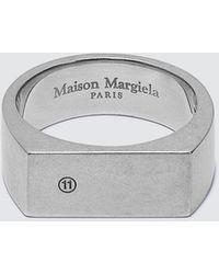 Maison Margiela Logo Silver Ring - Metallic