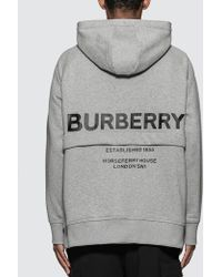 Burberry Horseferry Print Cotton Hoodie - Gray