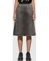 Prada Washed Denim Mid Skirt - Black