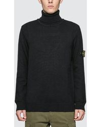 Stone Island Turtle Neck Knitted Sweater - Blue