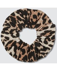 Ganni Silk Mix Scrunchie - Brown