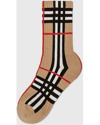 Burberry Check Intarsia Technical Stretch Cotton Socks - Natural