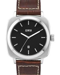 Edwin - Black Dial With Brown Leather Band Julius - Lyst
