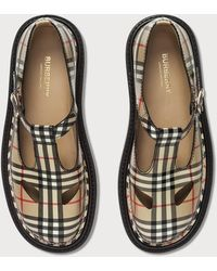Burberry Vintage Check Leather T-bar Shoes - Natural