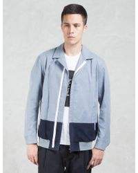 Factotum - Two Tone Zip Front Shirt Bomber Jacket - Lyst