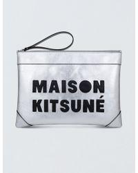 Maison Kitsuné - Large Leather Clutch - Lyst
