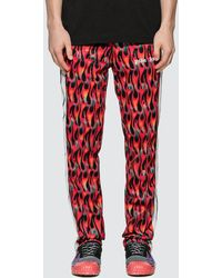 Palm Angels Side-stripe Flame-print Track Trousers - Red