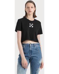 Off-White c/o Virgil Abloh Spray Arrows Crop Casual T-shirt - Black