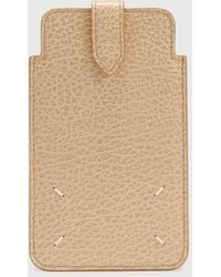 Maison Margiela Grainy Embossed Leather Phone Pouch - Natural