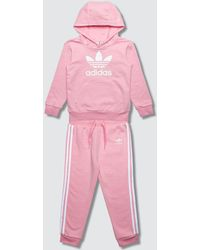adidas Originals Trefoil Hoodie And Pants Set - Pink