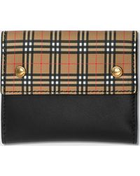 Burberry - Small Scale Check And Leather Folding Wallet - Lyst