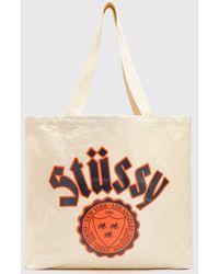 Stussy City Seal Canvas Tote Bag - Natural