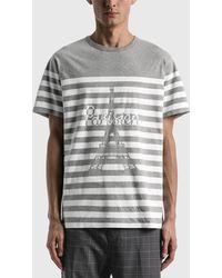 Maison Kitsuné Parisien Tower Striped Classic T-shirt - Grey