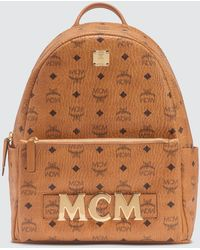 MCM Trilogie Stark Backpack In Visetos - Brown