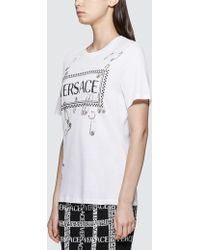 Versace Box Logo With Pins T-shirt - White