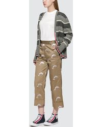 Thom Browne Twill Dolphin Embroidered Chino Pants - Natural