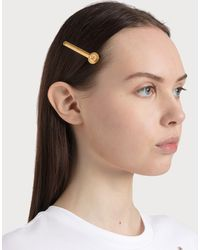 Versace Medusa Hair Clip In Golden Brass - Metallic