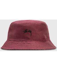 Stussy Jute Weave Bucket Hat - Red