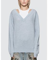 T By Alexander Wang Classic Bi-layer Off Shoulder Sweater With Inner Tank - Blue