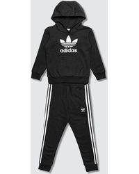 adidas Originals Trefoil Hoodie And Pants Set - Black