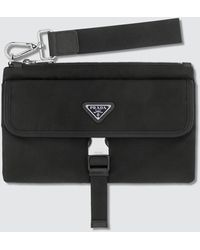 Prada Tiangle Logo Nylon Pouch With Buckle - Black