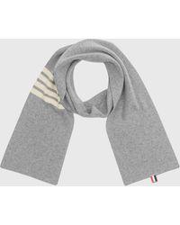 Thom Browne 4 Bar Stripe Scarf - Gray