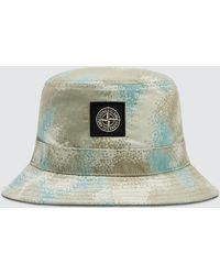 Stone Island Camo Devore Bucket Hat - Gray