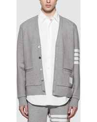 Thom Browne V Neck Cardigan - Grey