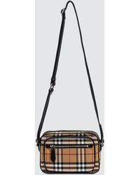 c2e1e7c5ca2f Burberry - Vintage Check And Leather Crossbody Bag - Lyst