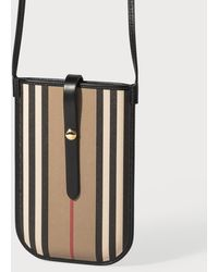 Burberry Icon Stripe E-canvas Phone Case With Strap - Natural