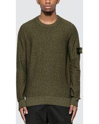 Stone Island Melange Knit Sweater - Green
