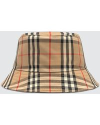Burberry Checked Cotton Bucket Hat - Natural