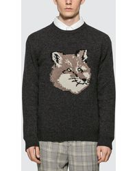 Maison Kitsuné Fox Head Pullover - Gray