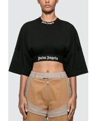 Palm Angels Cropped Logo Over Tee - Black