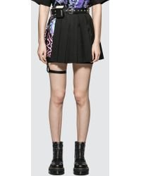 Hyein Seo Pleated Skirt With Leather Garter Belt - Black