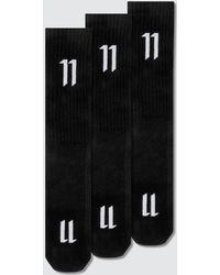 Boris Bidjan Saberi 11 - Three-pack Black Ribbed Logo Socks - Lyst