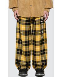 Alexander Wang Luxe Plaid Pajama Pant With Screen Print - Yellow