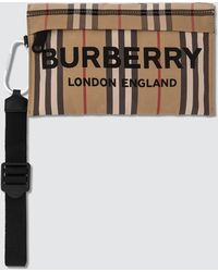 Burberry Nylon Check Zip Pouch - Natural