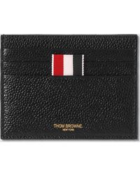 Thom Browne Pebbled Leather Card Holder - Black
