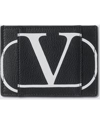 Valentino Vlogo Leather Card Holder - Black