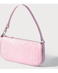 BY FAR Rachel Croco Embossed Leather Bag - Pink