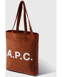 A.P.C. Lou Corduroy Tote - Brown