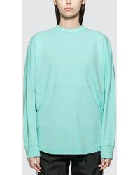 Palm Angels Logo Over Long Sleeve T-shirt - Green