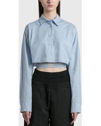 we11done Linen Crop Shirt - Blue