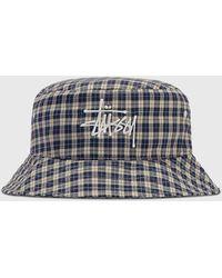 Stussy Basic Plaid Bucket Hat - White