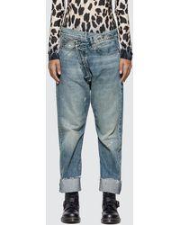 R13 Crossover Asymmetric-waist Jeans - Blue