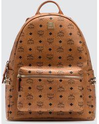 MCM Stark Side Studs Backpack In Visetos - Natural
